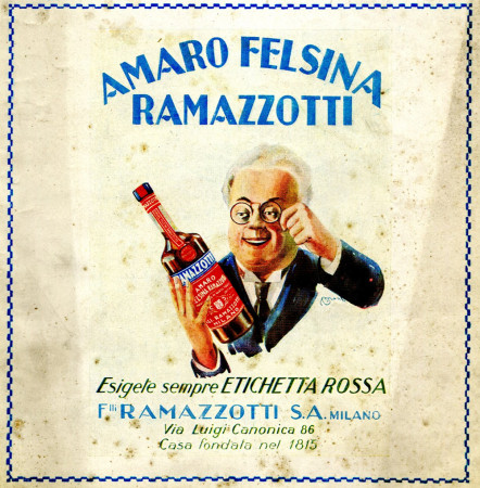"1930 * Advertising Original ""Amaro Felsina Ramazzotti - MONTI"" in Passepartout"