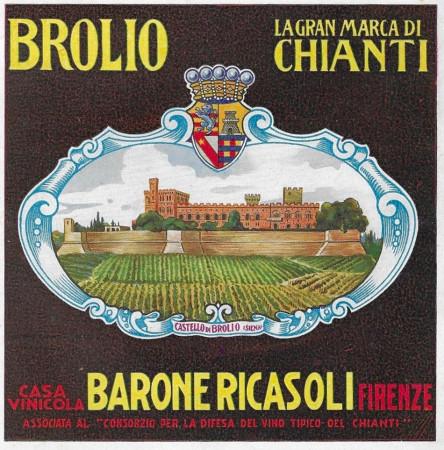 """1929 * Advertising Original """"Chianti Brolio - La Gran Marca Di Chianti - DI CARLO"""" in Passepartout"""