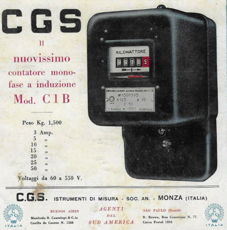 "1932 * Advertising Original ""CGS - Contatore Monofase a Induzione"" in Passepartout"
