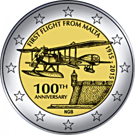 """2015 * 2 Euro MALTA """"100 Years First Flight"""""""