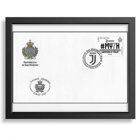 "2018 * Philatelic Envelope Stamp San Marino 2 Euro First Day Stamp ""MY7H - Juventus Campione d'Italia"" in FRAME"