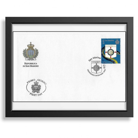 "2018 * Philatelic Envelope Stamp San Marino 2 Euro First Day Stamp ""Centodieci Inter 1908-2018"" in FRAME"