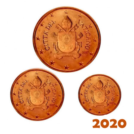 "2020 * Set VATICAN 5, 2, 1 Cents ""Coat of Arms of Pope Francis"" Year VII BU"