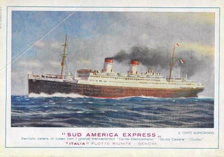 "1932 * Advertising Original ""Italia Flotte Riunite - Sud America Express - Il Conte Biancamano"" in Passepartout"