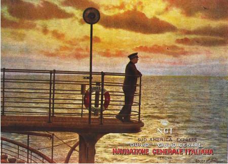 "1949 * Advertising Original ""Navigazione Generale Italiana - Sud America Express - Tramonto - STUDIO TESLA"" in Passepartout"