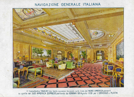 "1928 * Advertising Original ""Navigazione Generale Italiana - Duilio (28/08/1928) - VALENTI"" in Passepartout"
