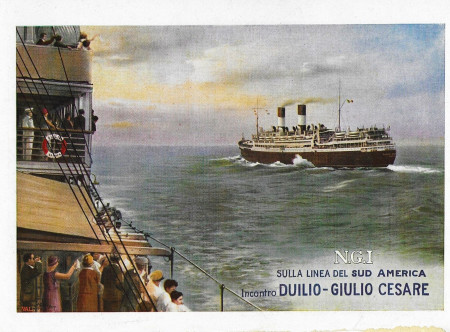 "1930 * Advertising Original ""Navigazione Generale Italiana - Incontro Duilio e Giulio Cesare - STUDIO TESLA"" in Passepartout"