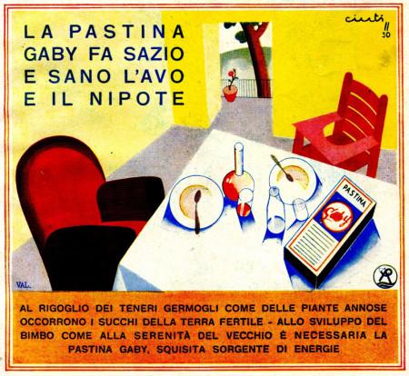 """1930 * Advertising Original """"Pastina Gaby - Fa Sazio e Sano L'Avo e Il Nipote - CINTI"""" in Passepartout"""