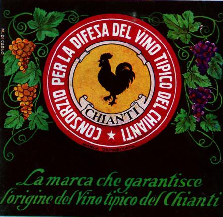 "1930 * Advertising Original ""Consorzio Difesa Chianti - Garantisce l'Origine - M. DI CARLO"" in Passepartout"