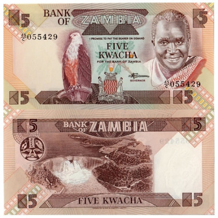 """ND (1980-88) * Banknote Zambia 5 Kwacha """"President K Kaunda"""" (p25d) UNC"""