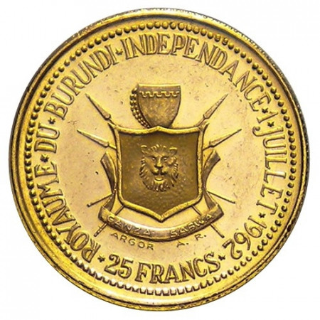 1962 * 25 gold francs EF Burundi Independence