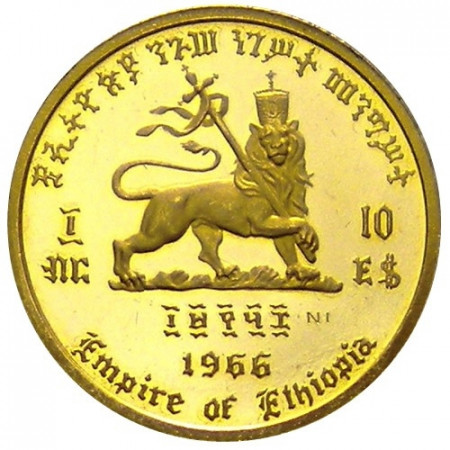 1966 * 10 gold Dollars Ethiopia 75th Birth and 50th Jubilee