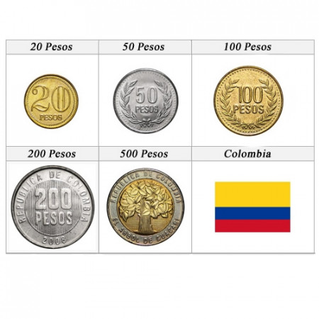 Mixed Years * set 5 coins Pesos Colombia
