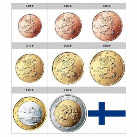 Mixed Years * Series 8 coins euro FINLAND