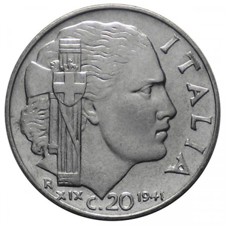 """1941 XIX * 20 Cents Italy Victor Emmanuel III """"Impero"""" UNC"""