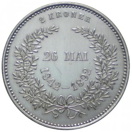 1892 * 2 Kroner silver Denmark Christian X Golden Anniversary EF+