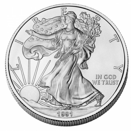 "1991 * 1 Dollar Silver 1 OZ United States ""Liberty - Silver Eagle"" UNC"