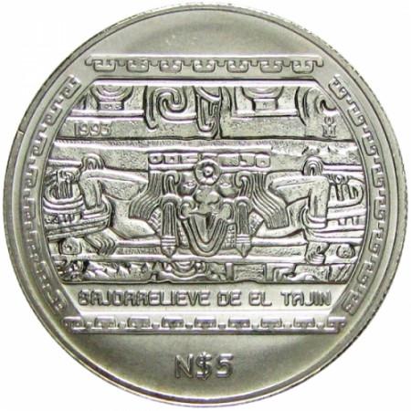 1993 * 5 Pesos Mexico - Silver ounce TAJIN