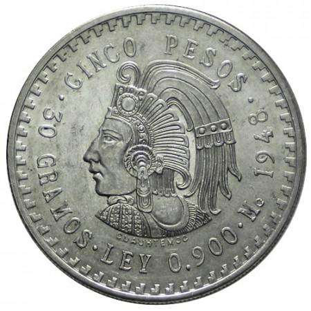 1948 * 5 pesos EX/XF Mexico Cuauhtémoc