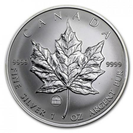 """2009 * 5 Dollars Silver 1 OZ Maple Leaf Canada """"Brandenburg Gate"""" Privy Mark"""