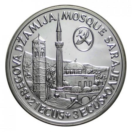 """1986 * 21 + 3 Ecus Silver Bosnia-Herzegovina """"Sarajevo Mosque"""" (KM 86) PROOF"""
