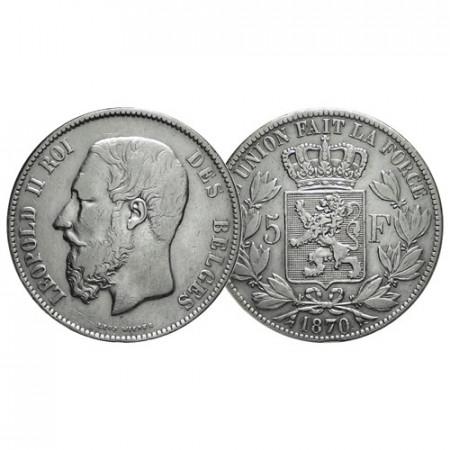 "1870 * 5 Francs Silver Belgium ""Leopold II"" (KM 24) VF+"