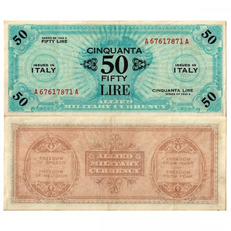 """1943 A * Banknote Italy 50 AM Lire """"Allied Military Currency"""" Bilingual A.1156 (pM20a) XF"""