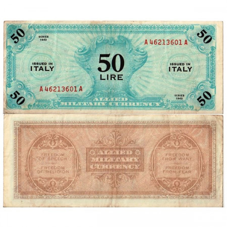 "1943 FLC (F) * Banknote Italy 50 AM Lire ""Allied Military Currency"" Italian A.1116 (pM14a) VF"