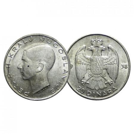"1938 * 20 Dinara Silver Yugoslavia ""Peter II"" (KM 23) VF"
