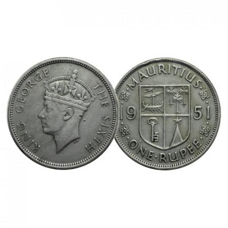 "1951 * 1 Rupee Mauritius ""George VI - National Arms"" (KM 29.1) VF"