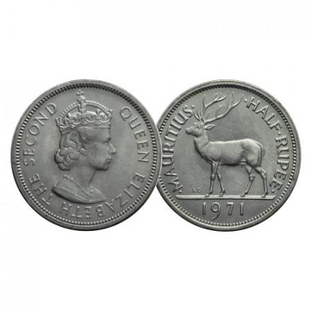 """1971 * Half 1/2 Rupee Mauritius """"Elizabeth II - Red Deer"""" (KM 37.1) UNC"""