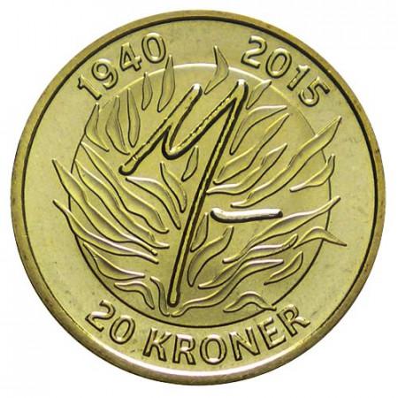 """2015 * 20 Kroner Denmark """"75th Birthday of Queen Margrethe II"""" UNC"""
