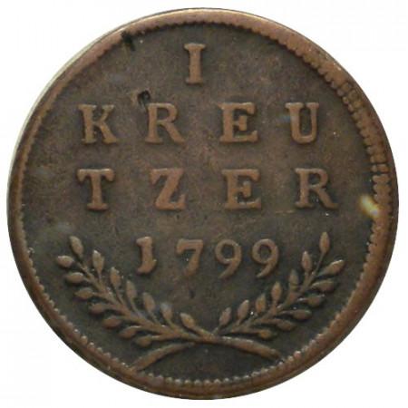 """1799 * 1 Kreutzer Austrian States - Salzburg """"Hieronymus von Colloredo"""" (KM 470) VF"""