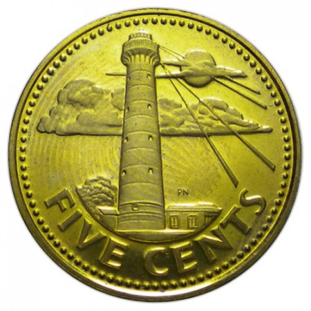 """1974 * 5 Cents Barbados """"South Point"""" (KM 11) PROOF"""