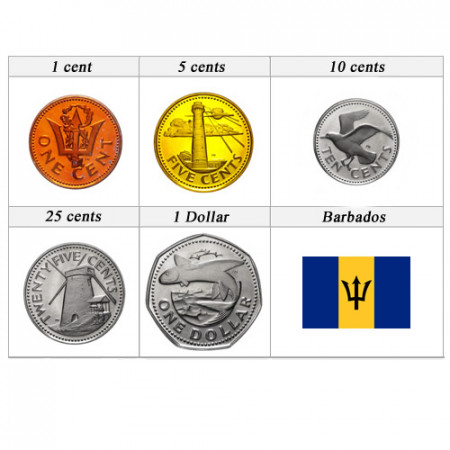 Mixed Years * Series 5 coins Barbados