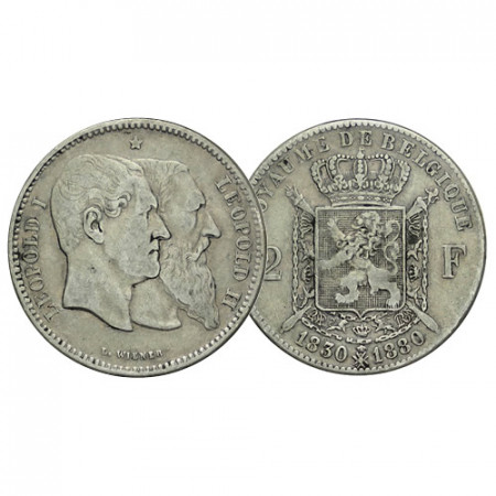 """1880 * 2 Francs Silver Belgium """"50th Independence"""" (KM 39) VF"""
