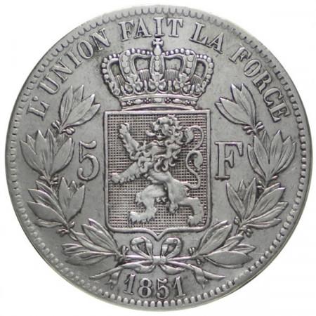 """1851 * 5 Francs Silver Belgium """"Leopold I"""" VF"""