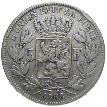 """1868 * 5 Francs Silver Belgium """"Leopold II"""" Type A VF"""
