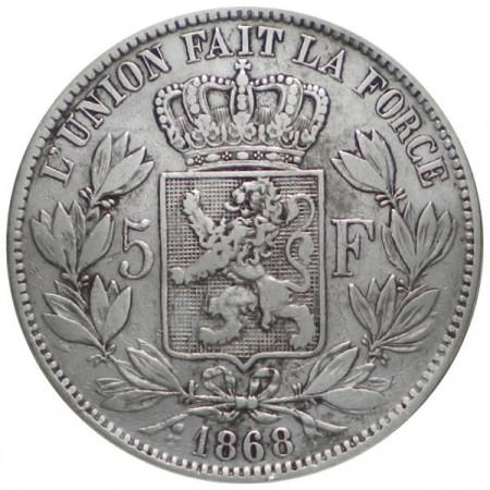 "1868 * 5 Francs Silver Belgium ""Leopold II"" Type A aVF"