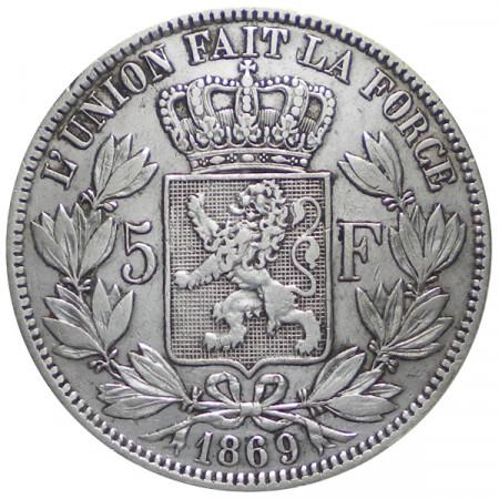 "1869 * 5 Francs Silver Belgium ""Leopold II"" aVF"