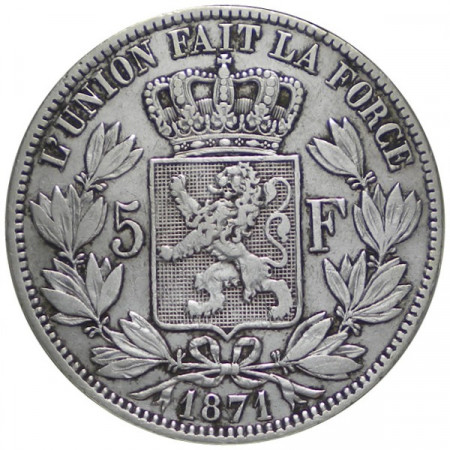 "1871 * 5 Francs Silver Belgium ""Leopold II"" VF"