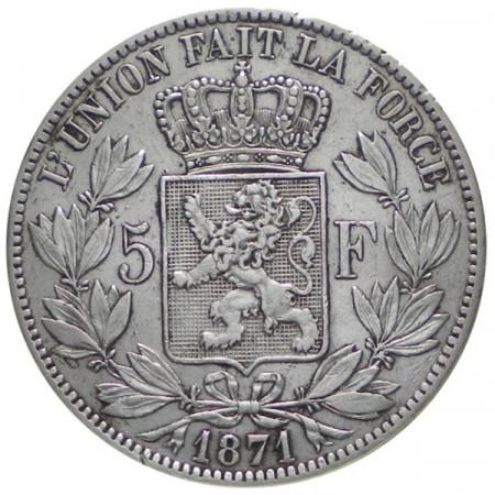 "1871 * 5 Francs Silver Belgium ""Leopold II"" VF+"