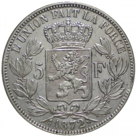 "1872 * 5 Francs Silver Belgium ""Leopold II"" VF+"