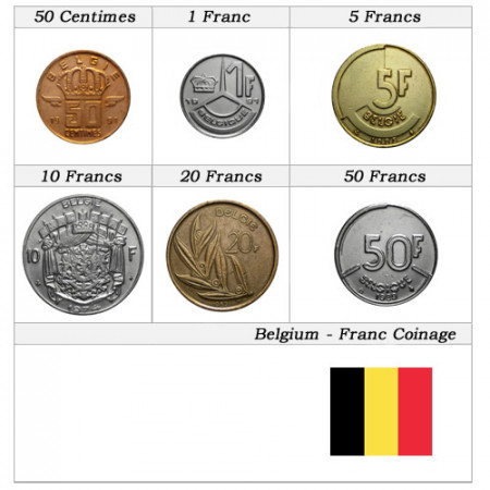 "Mixed Years * Series 6 Coins Belgium ""Franc"""