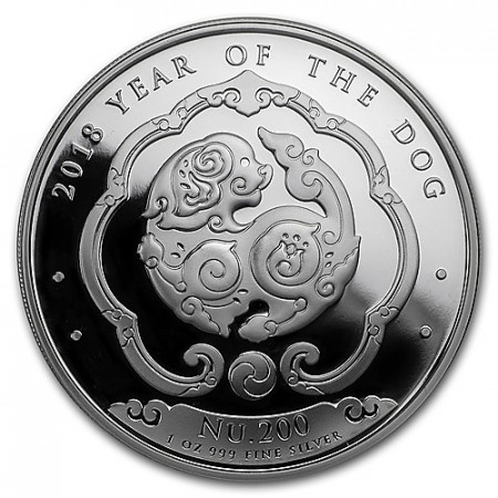 "2018 * Nu. 200 1 OZ Bhutan ""Year of the Dog"" PROOF"