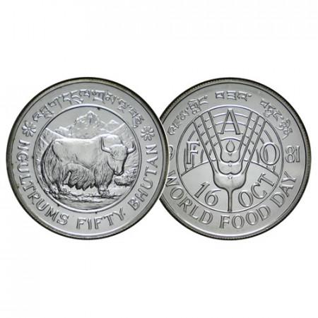 "1981 * 50 Ngultrums Silver Bhutan ""Yak – F.A.O. Series"" (KM 54) UNC"