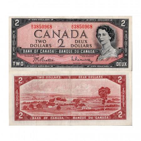 """1954 * Banknote Canada 2 Dollars """"Elizabeth II"""" (p76b) VF"""