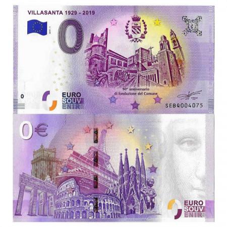 "2019-1 * Banknote Souvenir Italy European Union 0 Euro ""Villasanta 1929-2019"" UNC"