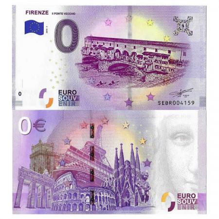 "2019-1 * Banknote Souvenir Italy European Union 0 Euro ""Firenze - Il Ponte Vecchio"" UNC"