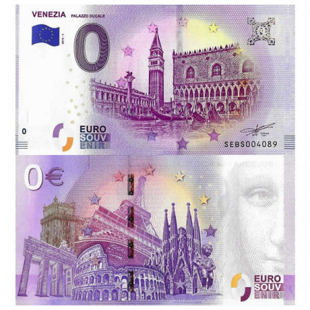 "2019-1 * Banknote Souvenir Italy European Union 0 Euro ""Venezia - Palazzo Ducale"" UNC"